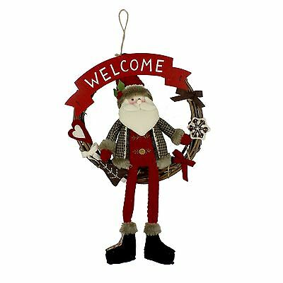 Santa Sitting Inside Hanging 'Welcome' Wreath Christmas Decoration
