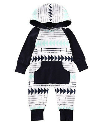 Newborn Kid Baby Boy Girls Infant Romper Jumpsuit Bodysuit Hooded Clothes Outfit