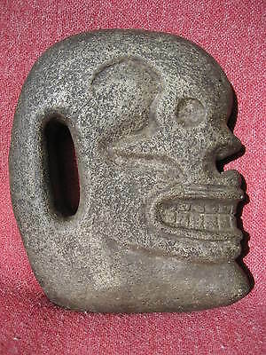 Mayan Skull Form Basalt Hacha from an Old California Collection with Data Tag