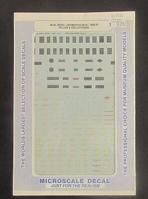 Microscale O Scale Decal 48-36 Diesels - Various Builders (Red & Yellow) 1950-70