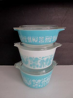 Vtg Pyrex Amish Butterprint Turquoise Casseroles with Lids Set of 3 LOT 2 NICE!