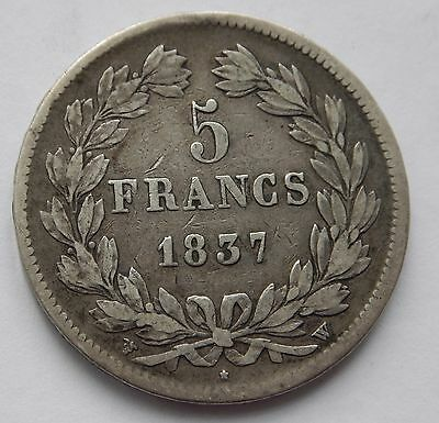 France 5 Francs 1837 W Louis Philippe .900 Silver
