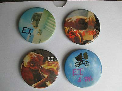 Extra-Terrestrial E T 1982 Set of FOUR BUTTON 2in Badges * UNUSED