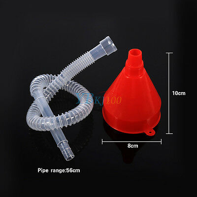 Filling Plastic Funnel With Transparent Soft Pipe Pour Oil Petrol Diesel Vehicle