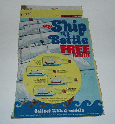 1970's Post Ship in the Bottle premium cereal box back