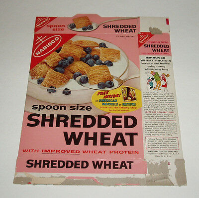1950's Nabisco Cereal Box w/ Marvels of Nature Trading Cards offer shredded whea