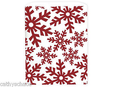 100 White Kraft Paper Red Snowflakes Frozen Cookie Bags Sacks Christmas Holiday
