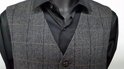 Men`s new TWEED Waistcoats Grey with Blue & Brown Check 34 - 50 Chest