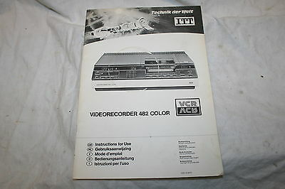 Bedienungsanleitung ITT Videorecorder 482 Color VCR - in 10 Sprachen