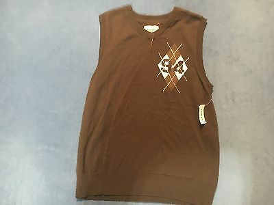 Old Navy Boy's NWT Brown & Blue Sweater Vest.  Size Large 10-12