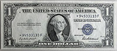 1935 F $1 Silver Certificate Star Note Paper Money One Dollar Currency UNC #R