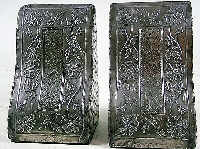 A Striking Pair of Hammered Pewter Ornate Bookends, Early 20thC