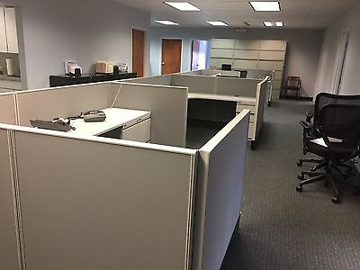 "LOT OF 4 - 6ft x 8ft x 42""H CUBICLES/PARTITIONS by OSP OFFICE FURNITURE"