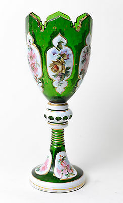 Antique Bohemian Green Overlayed and Enamelled Vase with Cut Glass Rim