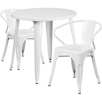 30'' Round White Metal Indoor-Outdoor Table Set With 2 Arm Chairs