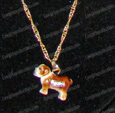 "English BULLDOG Bejeweled Enamel Pendent Necklace (20"" Gold Tone Chain) 3348BN"