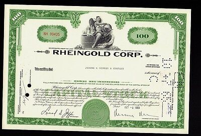 Beer Brewery RHEINGOLD CORP Brooklyn NY dd 1965 iss Jerome A Newman