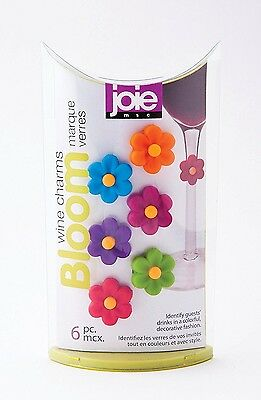 Joie Flower Bloom Wine & Cocktail Glass Charms 6 pc set - Party Ring Markers