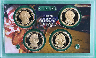 2007 Presidential 4 Coin Proof Set NO BOX 4 Golden President Dollars One Dollar