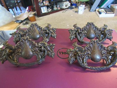 Lot of 4 Vintage Ornate Antique  Drawer Handles Pulls