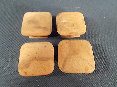 Vintage set of 4 Mission style Wood SQUARE Drawer KNOBS 1.5in Wide