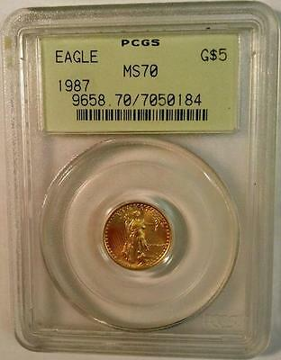 1987 $5 GOLD EAGLE PCGS MS70 VERY LOW POP 20 Low Mintage OLD GREEN LABEL
