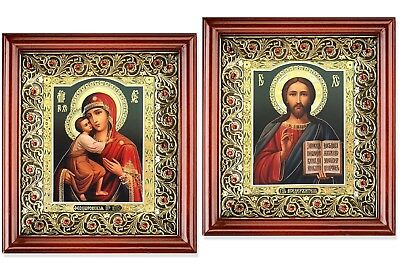 Matching Pair Madonna and Child Christ The Teacher Icons Framed With Glass 10""