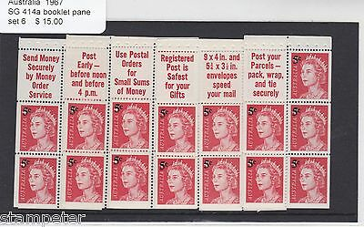 1967 Australia, SG 414a, Set of 6 Booklet Panes, MNH