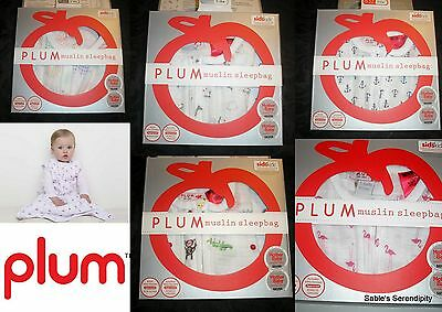 Plum Cotton Muslin Baby Sleeping Bags Tog 0.5 Assorted Designs 24 - 27 Deg C