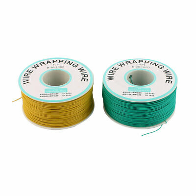 2 Pcs High Temperature Resistant Wraping Wire B-30-1000 Green Yellow