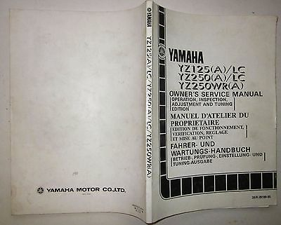 YAMAHA YZ 125 - 250 WR 1990 Owner's manual Manuel propriétaire Wartungshandbuch