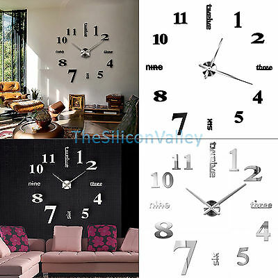Modern DIY Large Wall Clock 3D Mirror Surface Sticker Home Office Decor New. 3D Mirror Luxury Modern DIY Large Wall Clock Surface Sticker Home