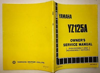 YAMAHA YZ 125 A 1990 Owner's service manual disassembly and reassembly edition