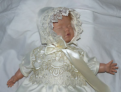 """Christening gown & bonnet, 0-6m baby or 18""""-22"""" reborn baby doll dress (168)"""