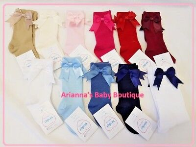 NEW Spanish / Romany Style Baby Girls 3/4 Knee High Socks Satin Bow 0 - 6 Years