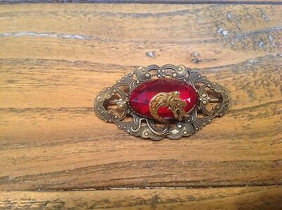 Vintage Brooch With Serpents Head Set With Red Stone