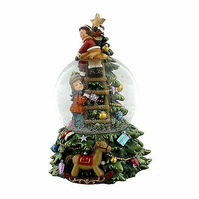 Hand Painted Festive Musical Snow Globe Features Christmas Tree & Children