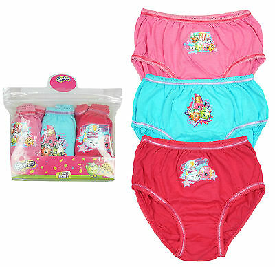 Girls Official Shopkins 3 Pack Briefs Knickers Underwear Pants 3 to 8 Years