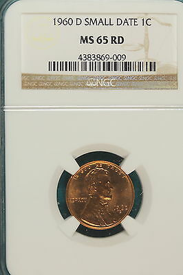 1960-D NGC MS65 RED SMALL DATE Lincoln Memorial Cent!! #A6611