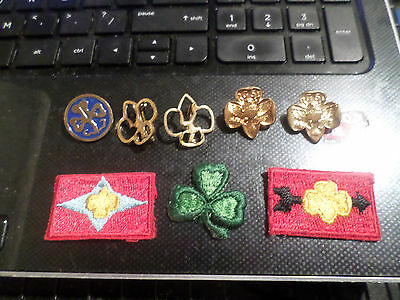 Lot of 5 Vintage Girl Scout Pin's 1 with Enamel Inlay & 3 Different Patches