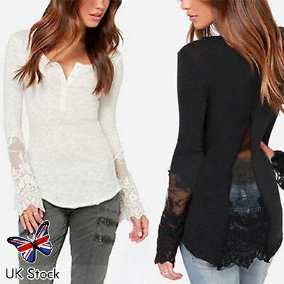 Womens Fashion Casual Long Sleeve T Shirt Loose Blouse Lady Lace Button Down Top