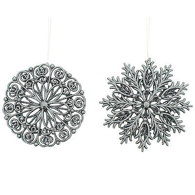 2 Christmas Party Stylish GREY Snowflakes Hanging Tree Ornaments Decorations