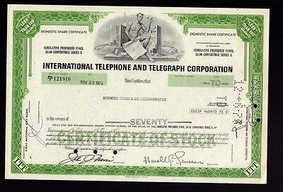 ITT International Telephone & Telegraph   issued  to Spencer Trask