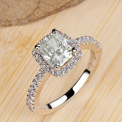 Women Engagement 925 Sterling Silver Filled Wedding Jewelry Ring