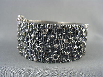 RARE! Vintage Signed ROBERT LARIN 2 Panel Modernist Pewter Cuff