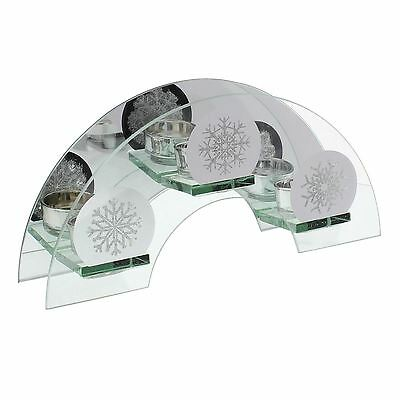Holiday Forest Collection Arched Triple Tea Light Candle Holder Snowflake Design