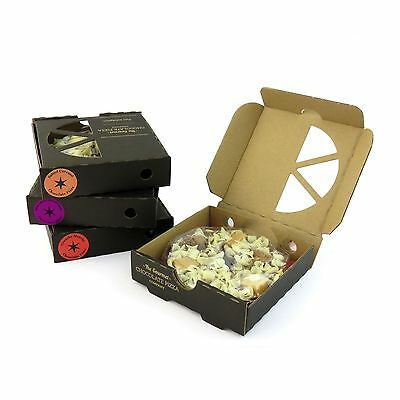 """4 x Gourmet Belgian Chocolate Pizza 4"""" Gift Xmas Present Stocking Fillers in Box"""