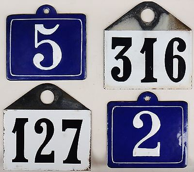 Old French enamel steel wine bin rack cellar label ticket house numbers - choose