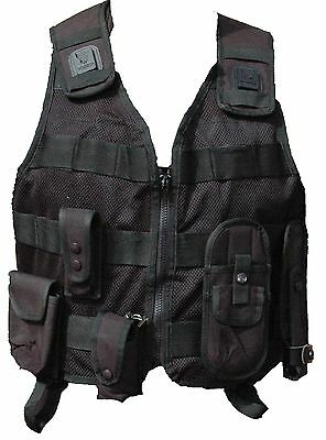 Ex Police Black Molle Tactical Vest With 5 Pouches Airsoft Combat Security 3s