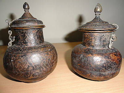 Rare Antique Islamic Pots Pair Arabic Written Vintage Pots Collectible Me1